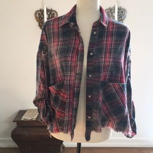 Zara Checked Button-down Shirt Jacket with Frills